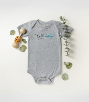 Chill Baby Teal Script Baby Onesie Grey