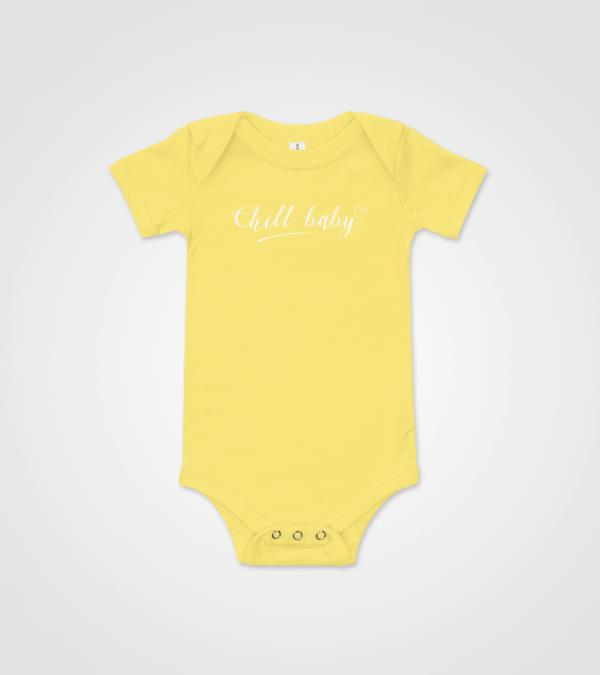 Chill Baby White Script Baby Onesie Yellow
