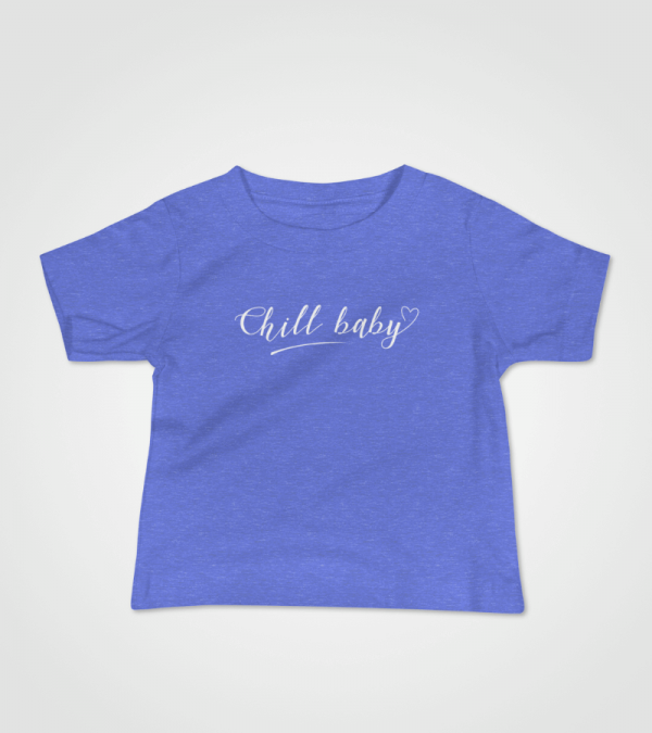 Chill Baby White Script Baby T-Shirt Blue