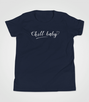 Chill Baby White Script T-Shirt Kids 8-14 Navy