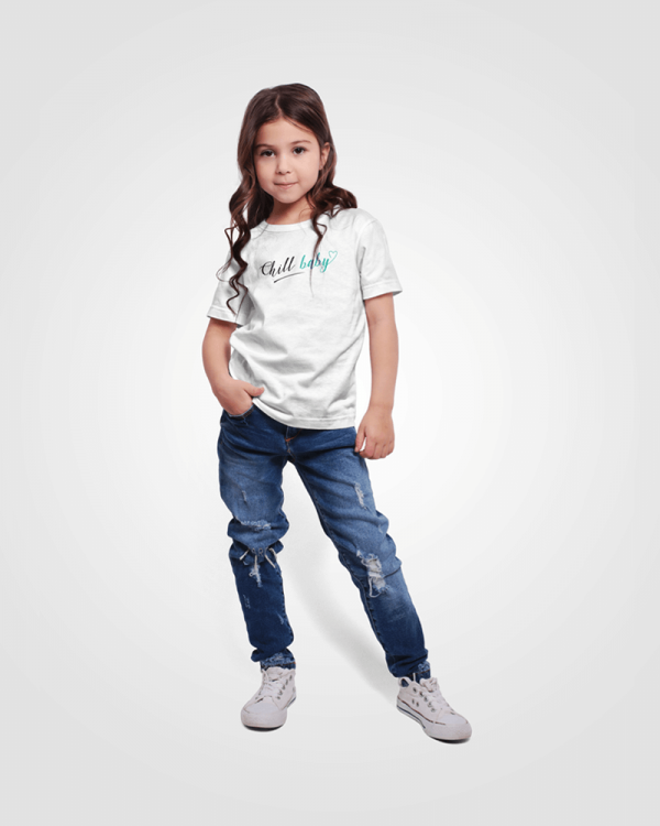 White Toddler T-shirt With Teal Chill Baby Logo