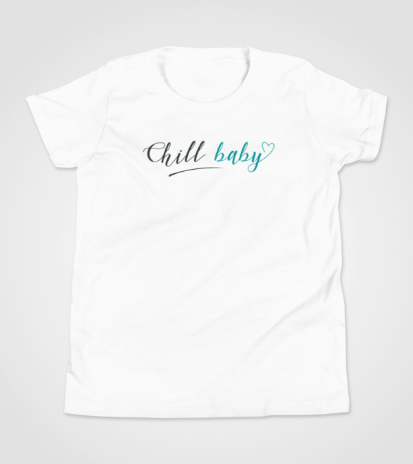 Chill Baby Teal Script T-Shirt Kids 8-14 White