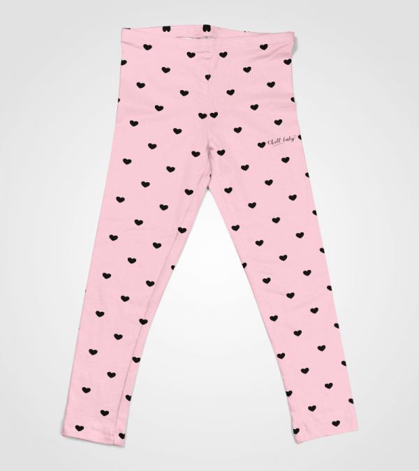 Love Heart Leggings Pink Chill Baby