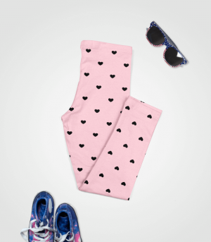 Love Heart Leggings Pink Feature Chill Baby