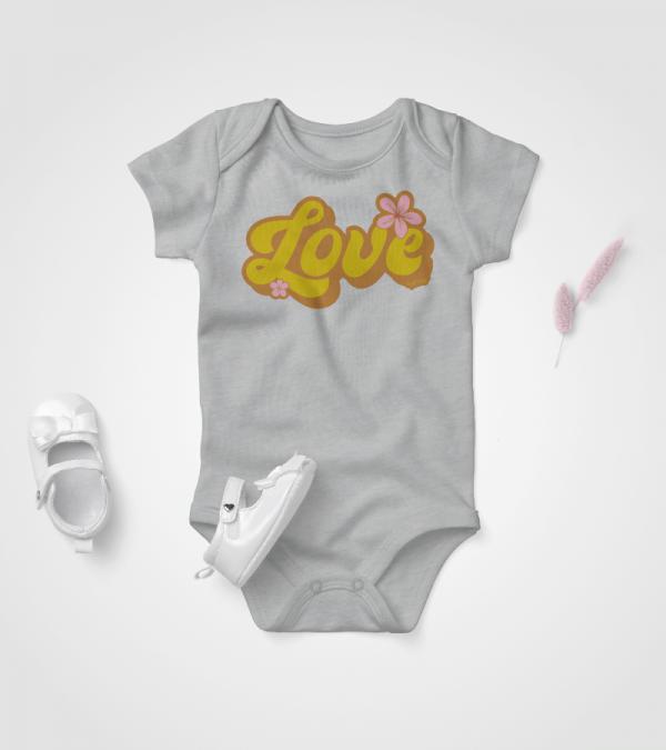 Retro Love Baby Onesie Grey Heather 3