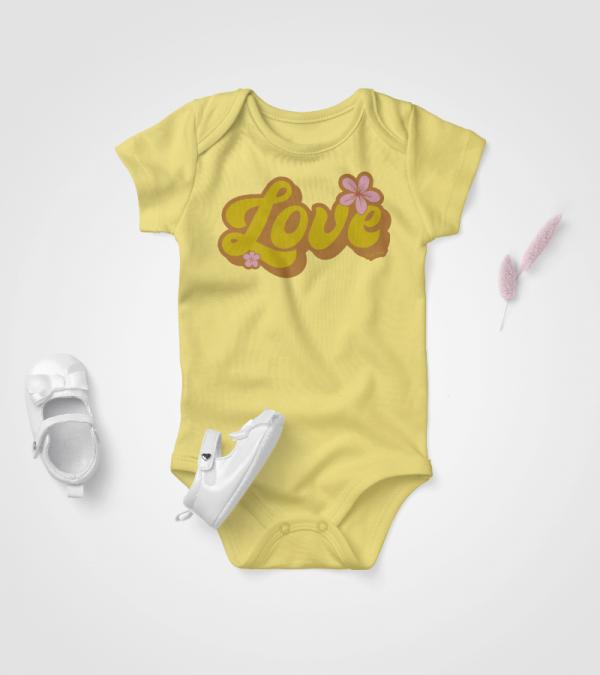 Retro Love Baby Onesie Grey Heather 2