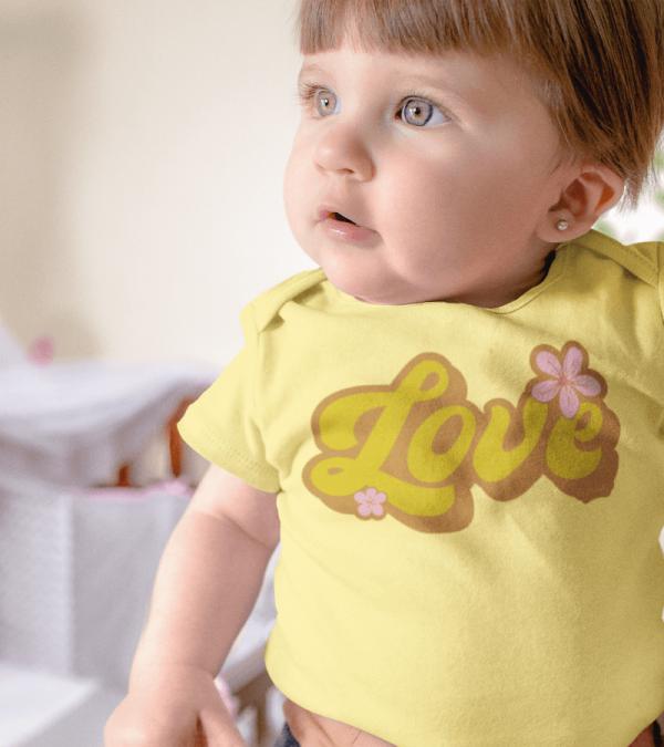 Retro Love Baby Onesie Yellow Model