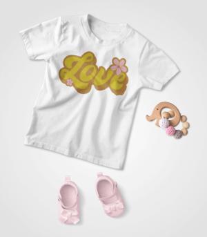 Retro Love Baby White T-shirt Feature