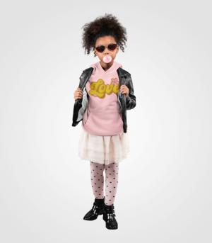 Retro Love Kids Pink Hoodie Model