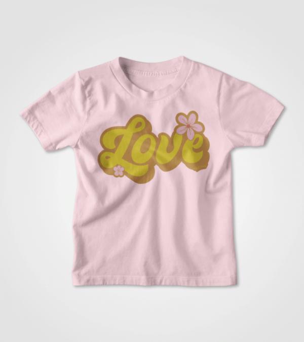 Retro Love Kids Pink T-shirt Mockup