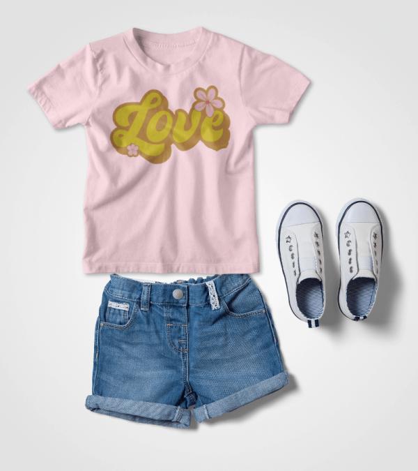 Retro Love Kids T-shirt Flat Lay Mockup