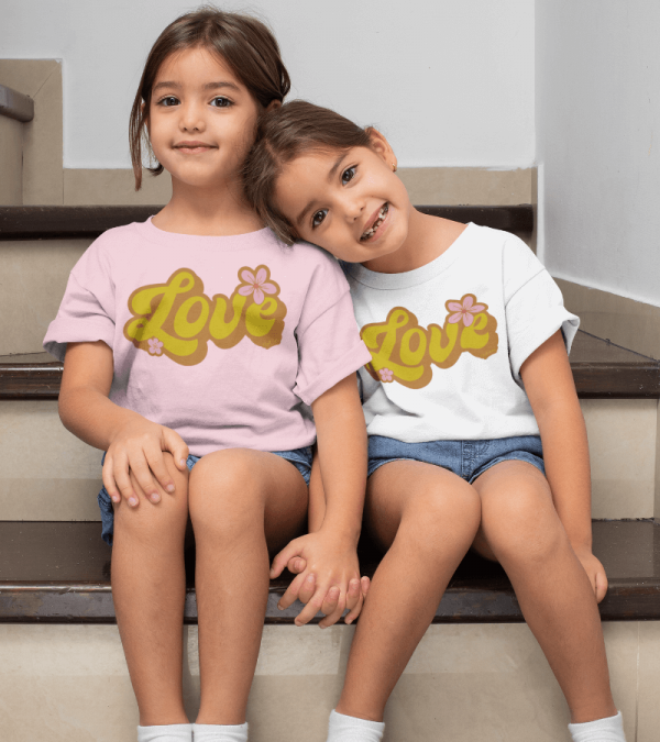 Retro Love Kids T-shirt Lifestyle Image